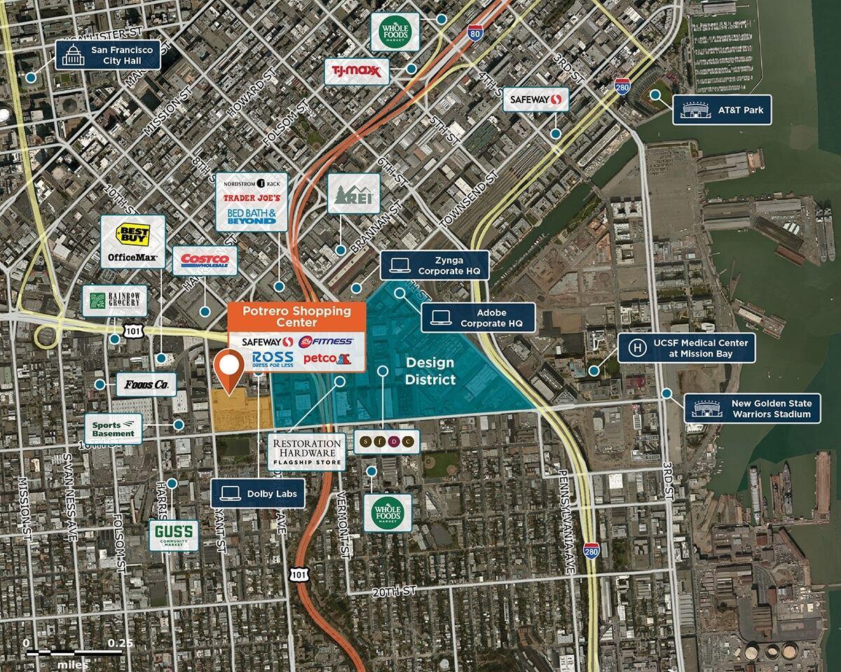 Potrero Center Trade Area Map for San Francisco, CA 94103