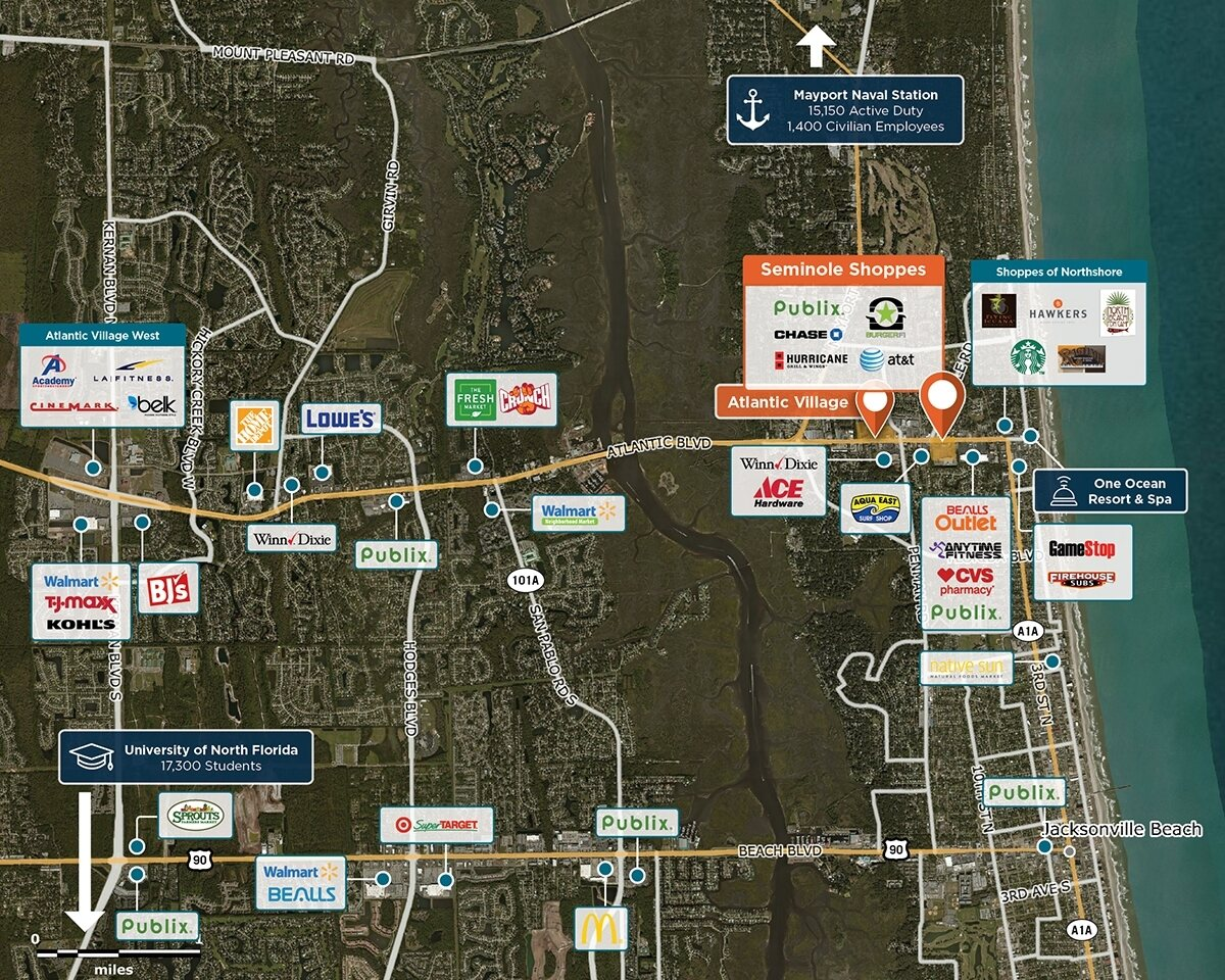 Seminole Shoppes Trade Area Map for Neptune Beach, FL 32266