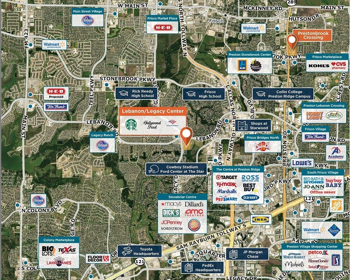 Lebanon/Legacy Center Trade Area Map for Frisco, TX 75034