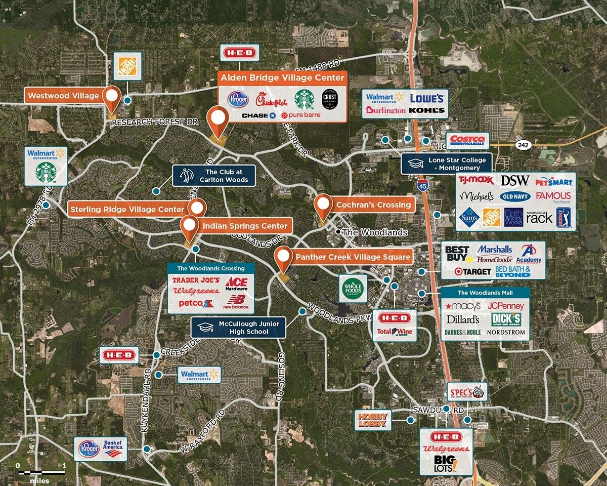Alden Bridge Trade Area Map for The Woodlands, TX 77382