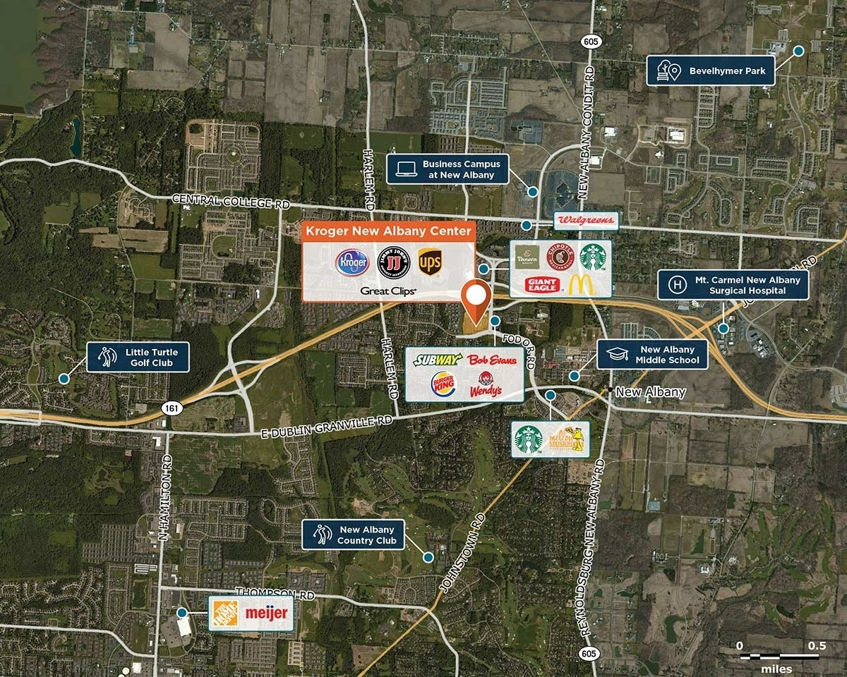 Kroger New Albany Center Trade Area Map for New Albany, OH 43054