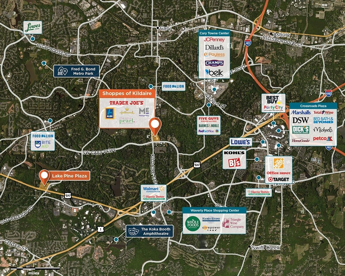 Shoppes of Kildaire Trade Area Map for Cary, NC 27511