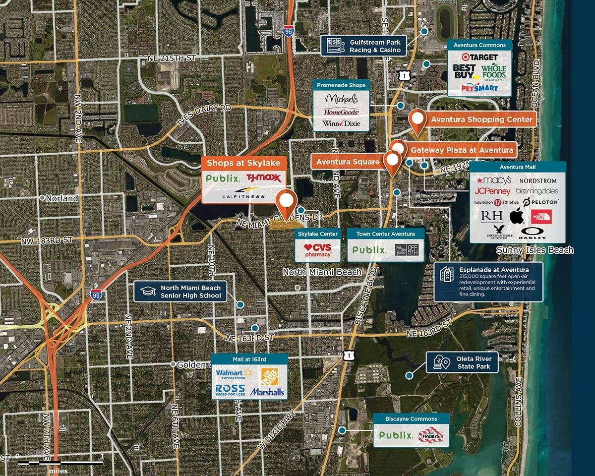 Shops at Skylake Trade Area Map for North Miami Beach, FL 33179