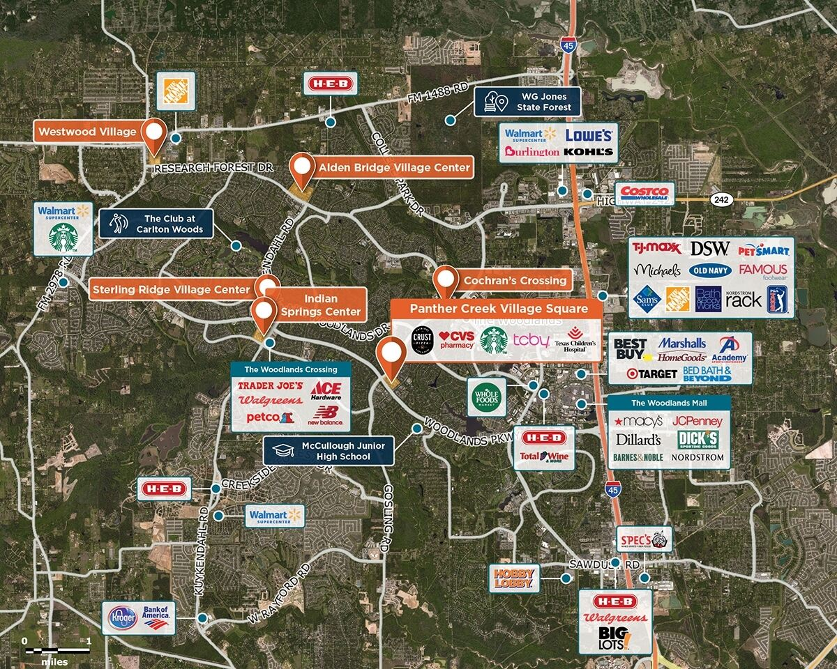 Panther Creek Trade Area Map for The Woodlands, TX 77381