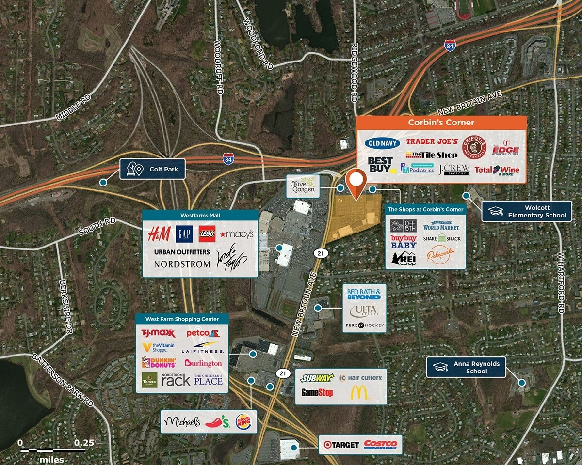 Corbin's Corner Trade Area Map for West Hartford, CT 06110