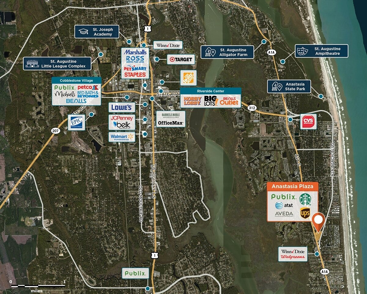 Anastasia Plaza Trade Area Map for St Augustine, FL 32080