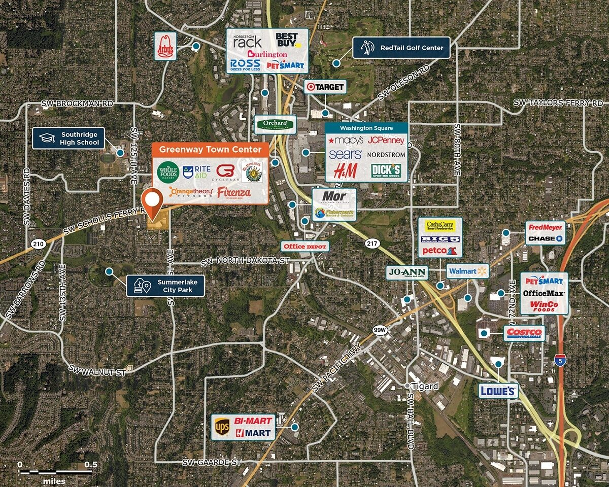 Greenway Town Center Trade Area Map for Tigard, OR 97223