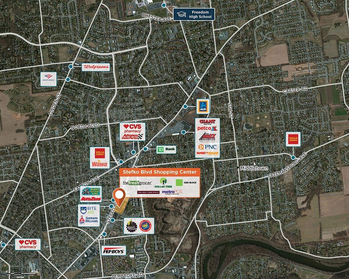 Stefko Blvd Shopping Center Trade Area Map for Bethlehem, PA 18017
