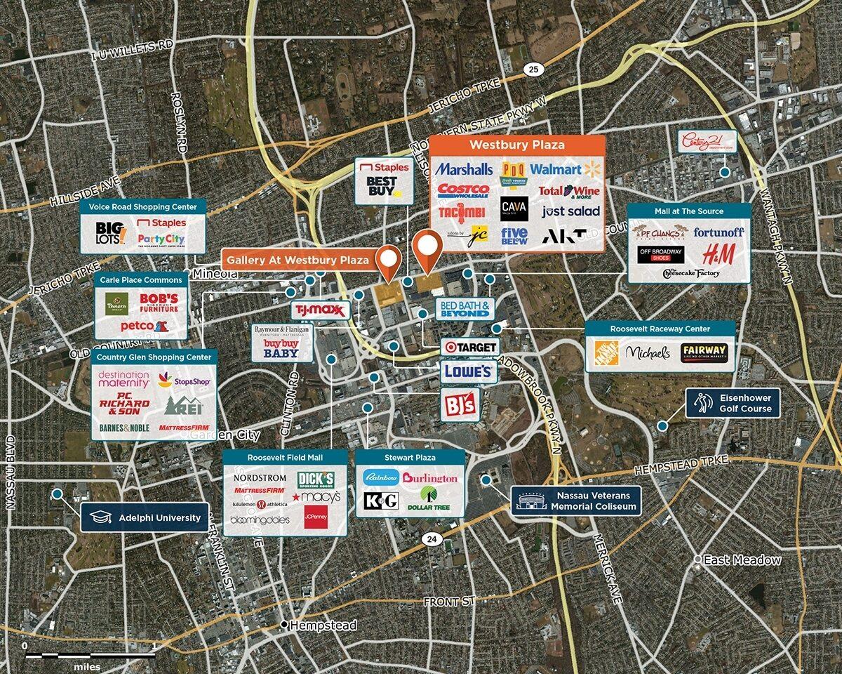 Westbury Plaza Trade Area Map for Westbury, NY 11590