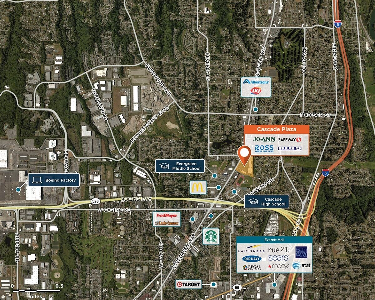 Cascade Plaza Trade Area Map for Everett, WA 98203