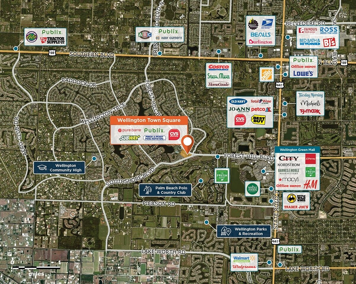 Wellington Town Square Trade Area Map for Wellington, FL 33414