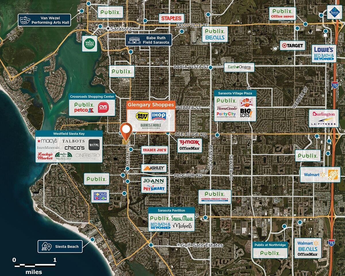 Glengary Shoppes Trade Area Map for Sarasota, FL 34231