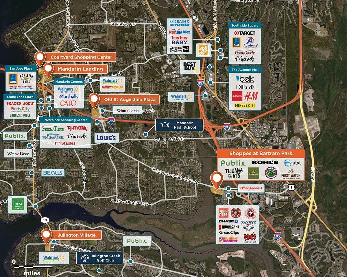 Shoppes at Bartram Park Trade Area Map for Jacksonville, FL 32258