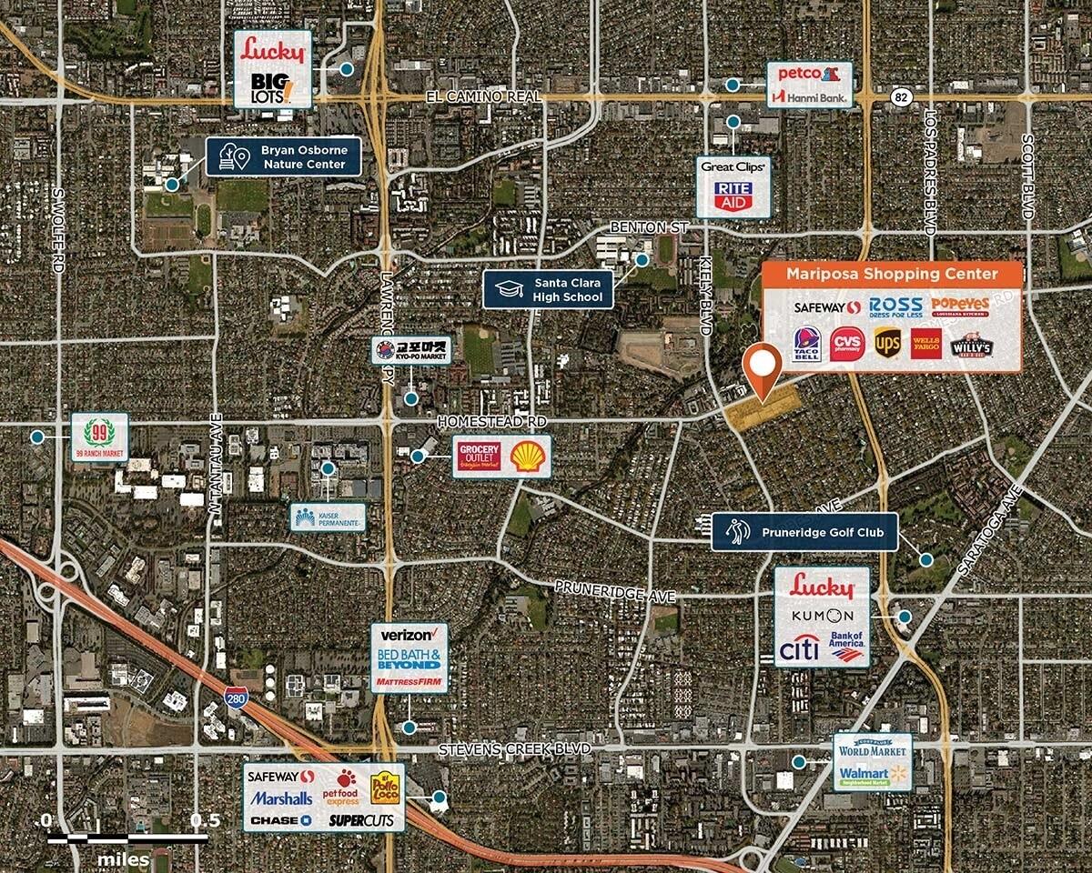 Mariposa Shopping Center Trade Area Map for Santa Clara, CA 95051