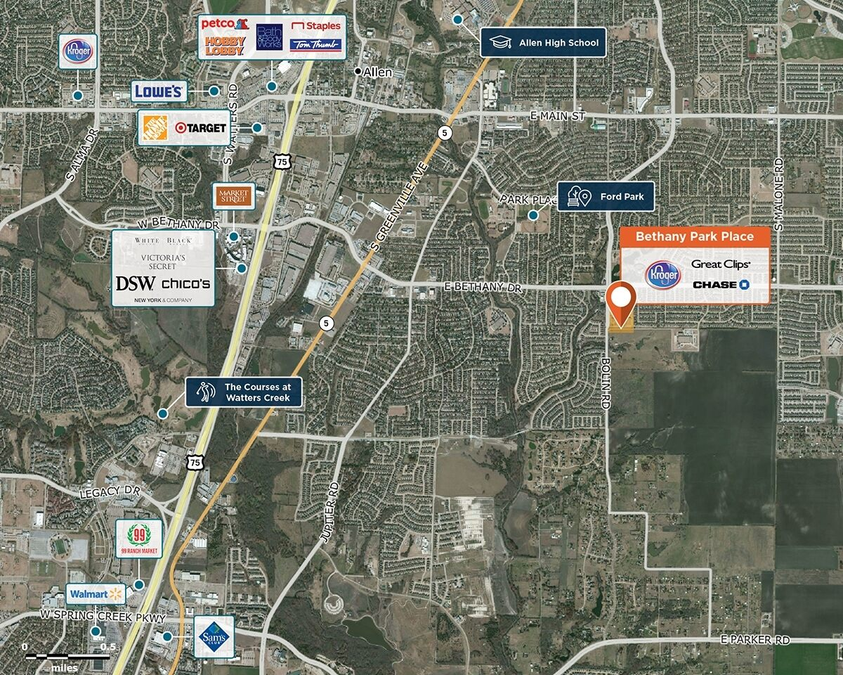 Bethany Park Place Trade Area Map for Allen, TX 75002