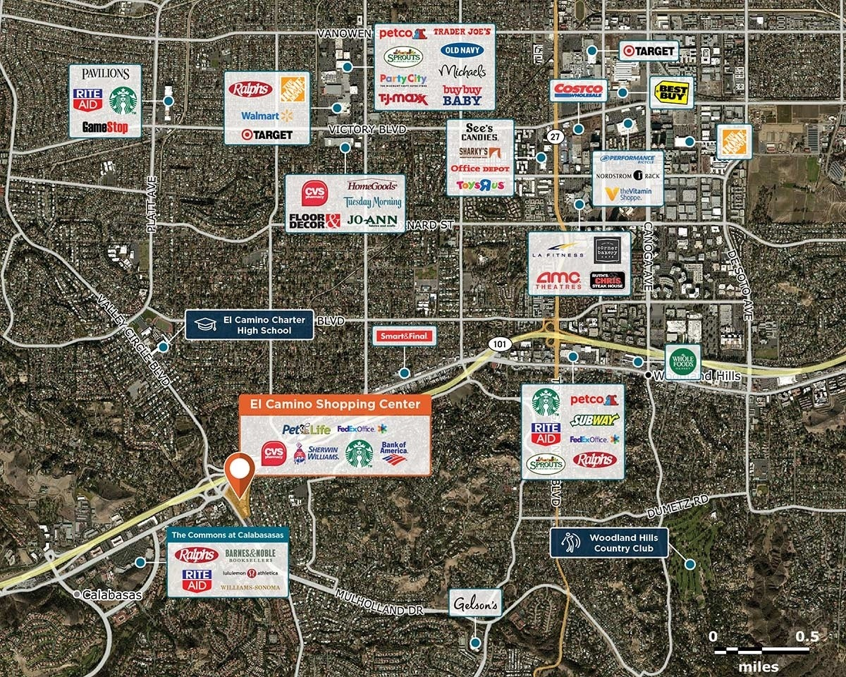 El Camino Shopping Center Trade Area Map for Woodland Hills, CA 91364