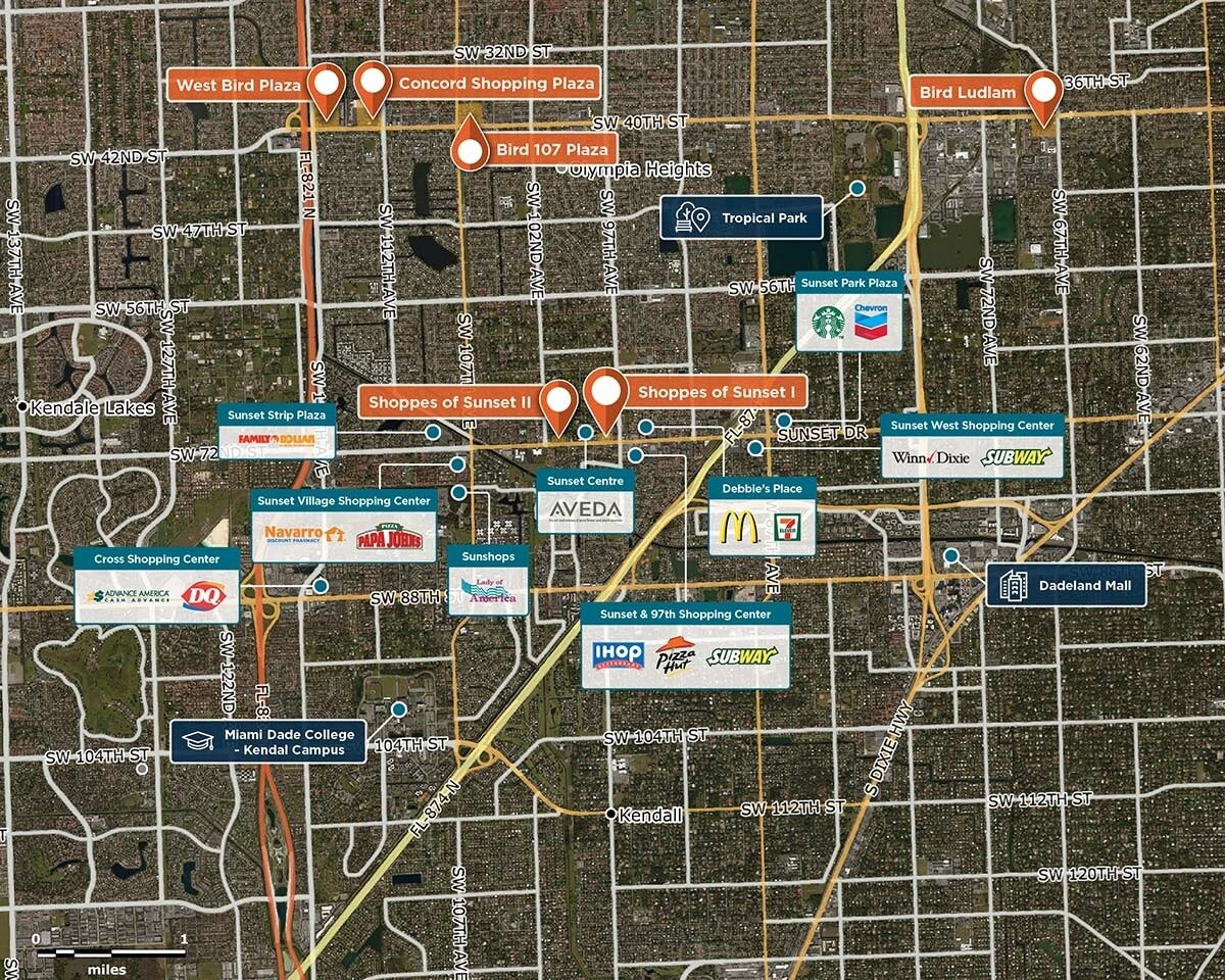 Shoppes of Sunset Trade Area Map for Miami, FL 33173