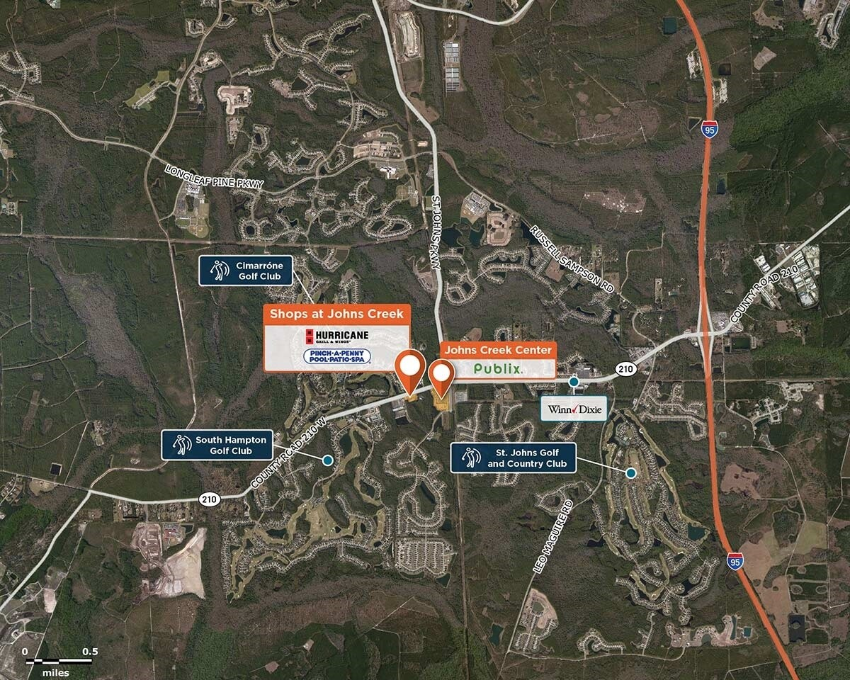Shops at John's Creek Trade Area Map for Saint Augustine, FL 32092
