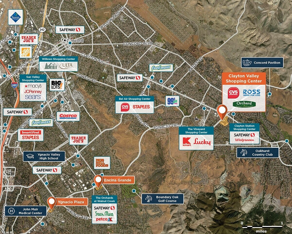 Clayton Valley Shopping Center Trade Area Map for Concord, CA 94521