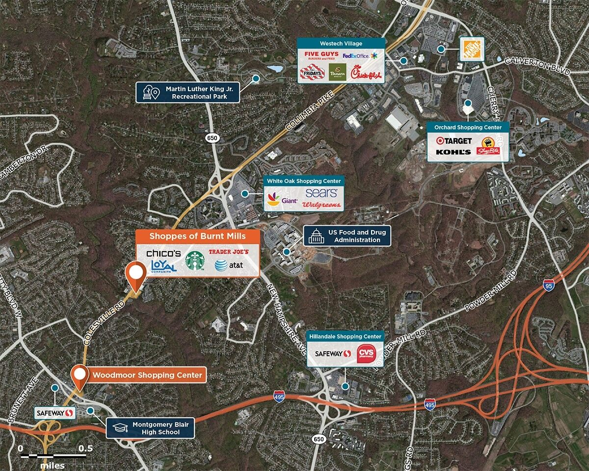 Shoppes of Burnt Mills Trade Area Map for Silver Spring, MD 20910