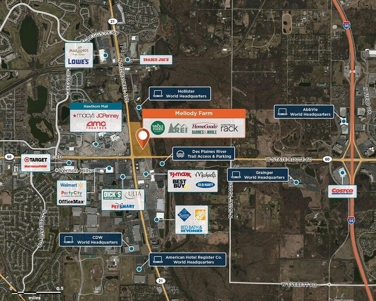 Mellody Farm Trade Area Map for Vernon Hills, IL 60061