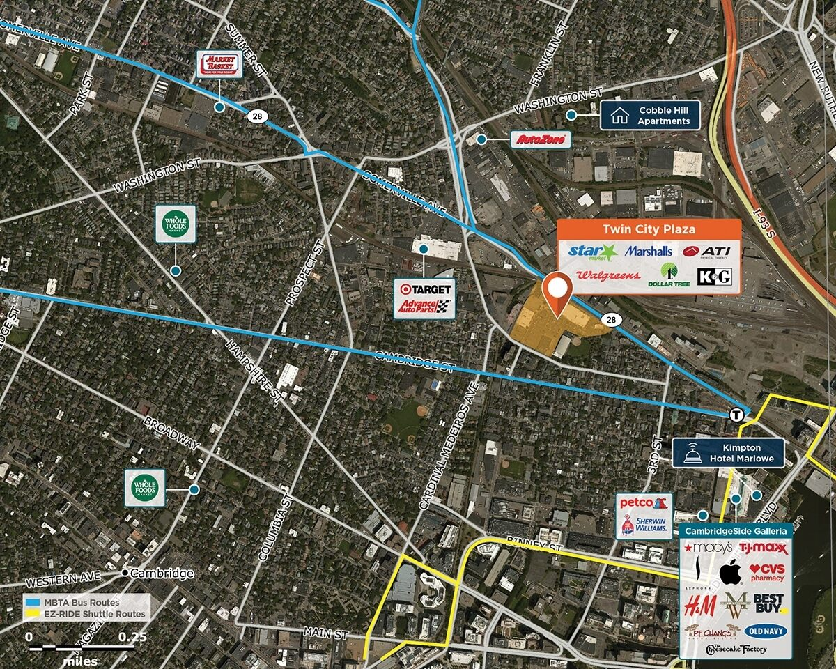 Twin City Plaza Trade Area Map for Somerville, MA 02143