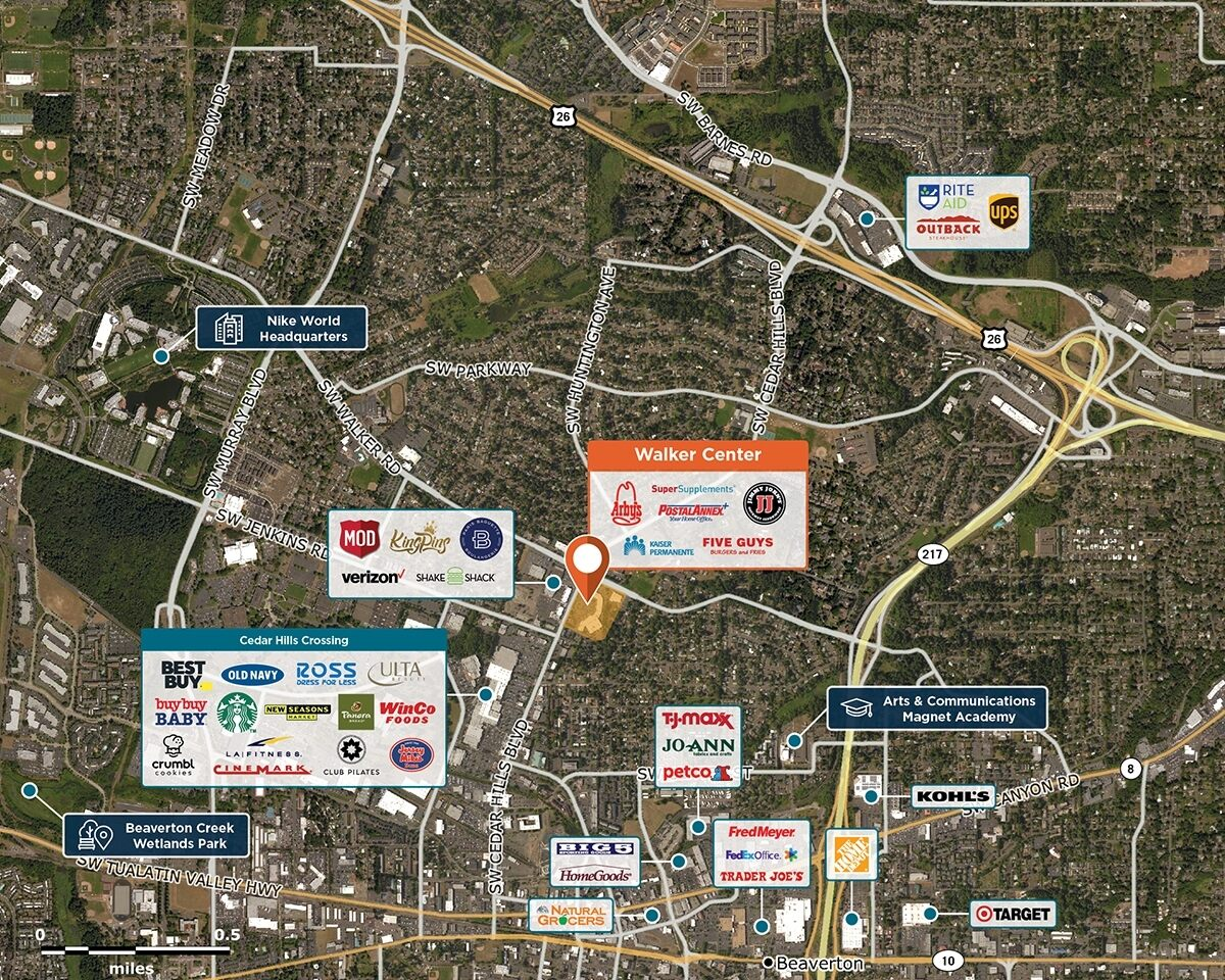 Walker Center Trade Area Map for Beaverton, OR 97005
