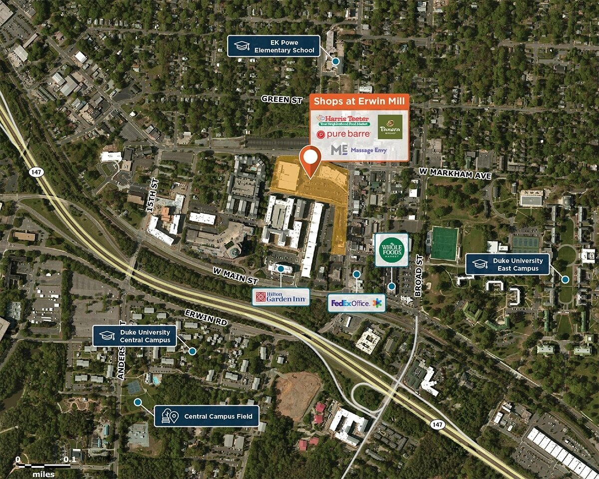 Shops at Erwin Mill Trade Area Map for Durham, NC 27705