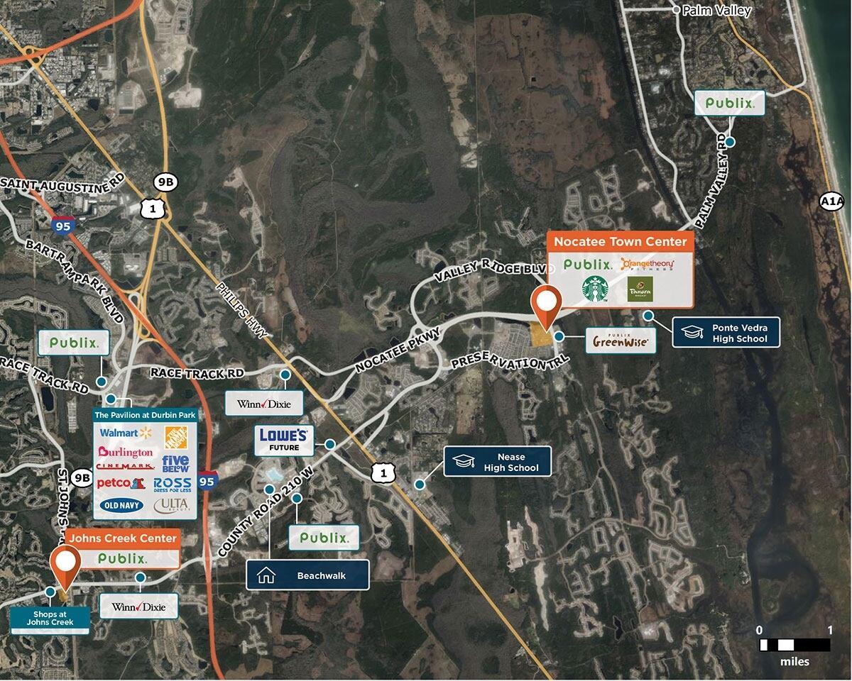 Nocatee Town Center Trade Area Map for Ponte Vedra Beach, FL 32081