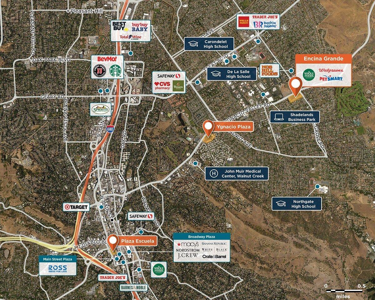 Encina Grande Trade Area Map for Walnut Creek, CA 94598