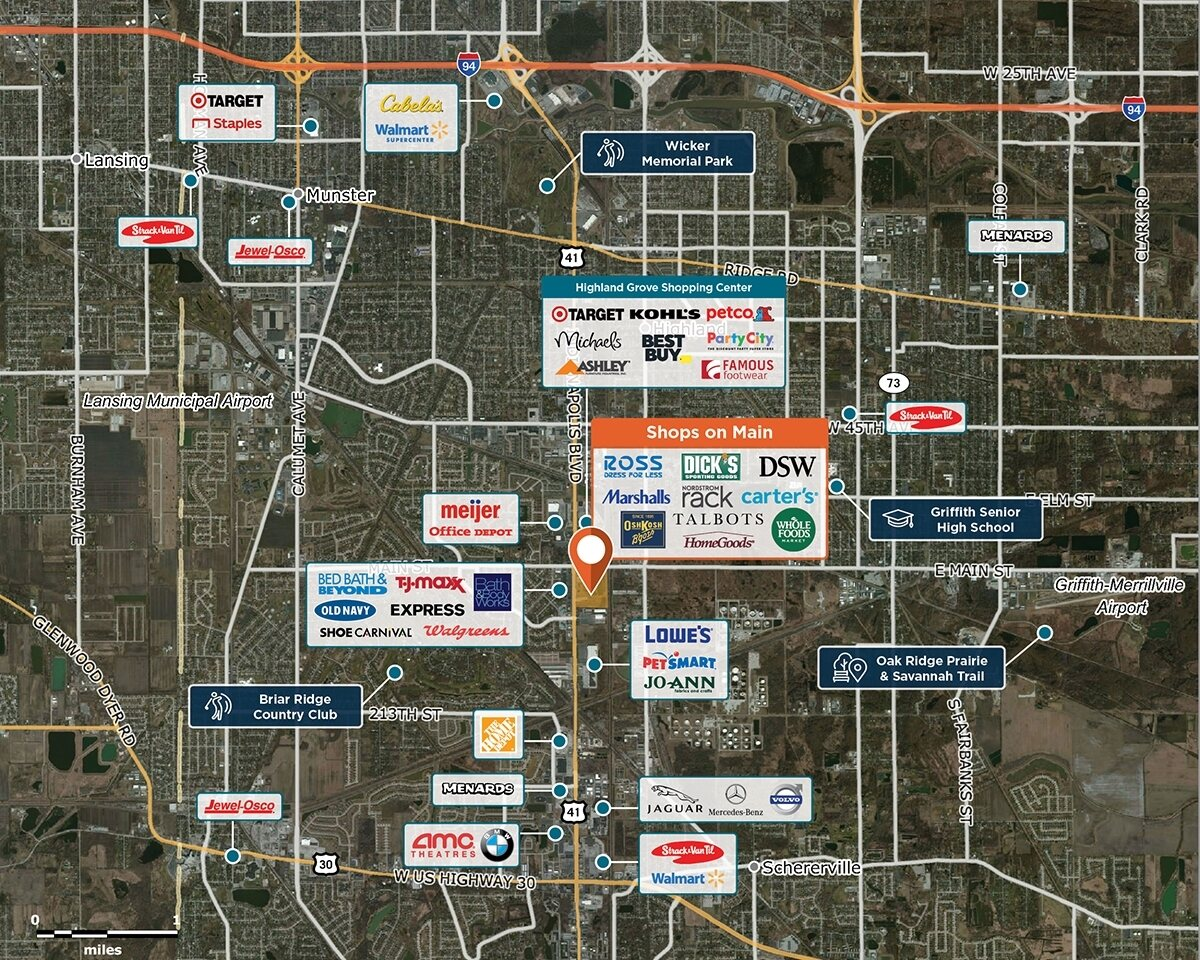 Shops on Main Trade Area Map for Schererville, IN 46375