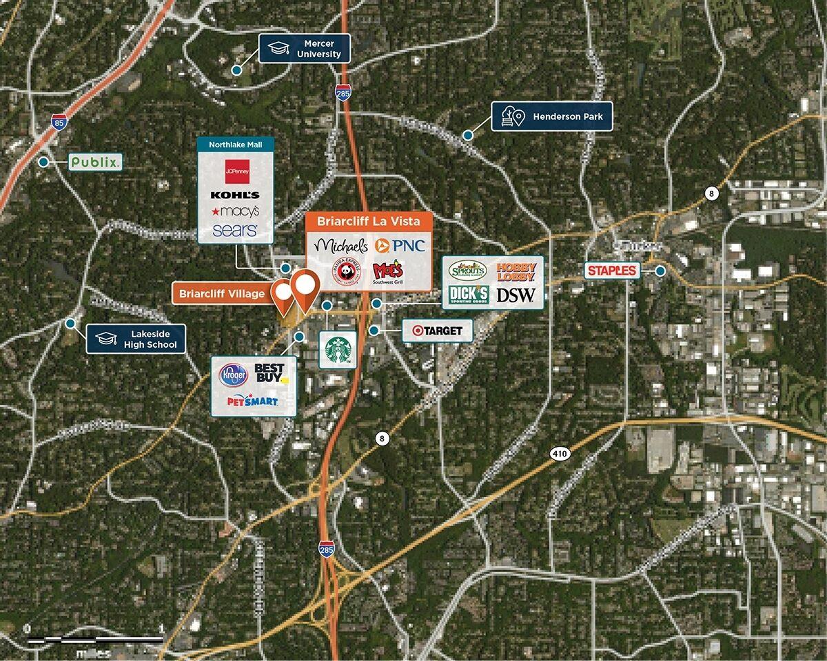 Briarcliff La Vista Trade Area Map for Tucker, GA 30084