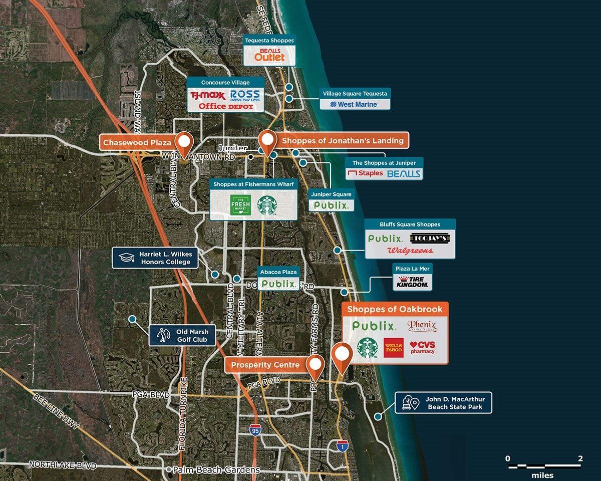 Shoppes of Oakbrook Trade Area Map for Palm Beach Gardens, FL 33408