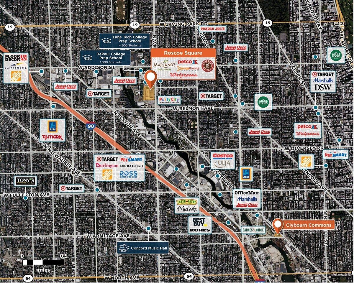 Roscoe Square Trade Area Map for Chicago, IL 60618