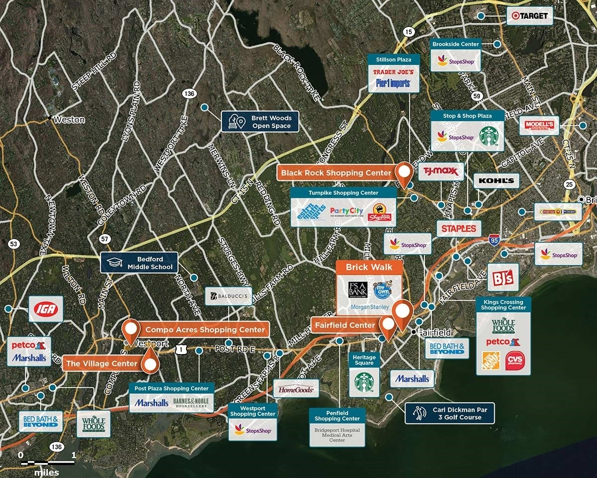 Brick Walk Trade Area Map for Fairfield, CT 06824