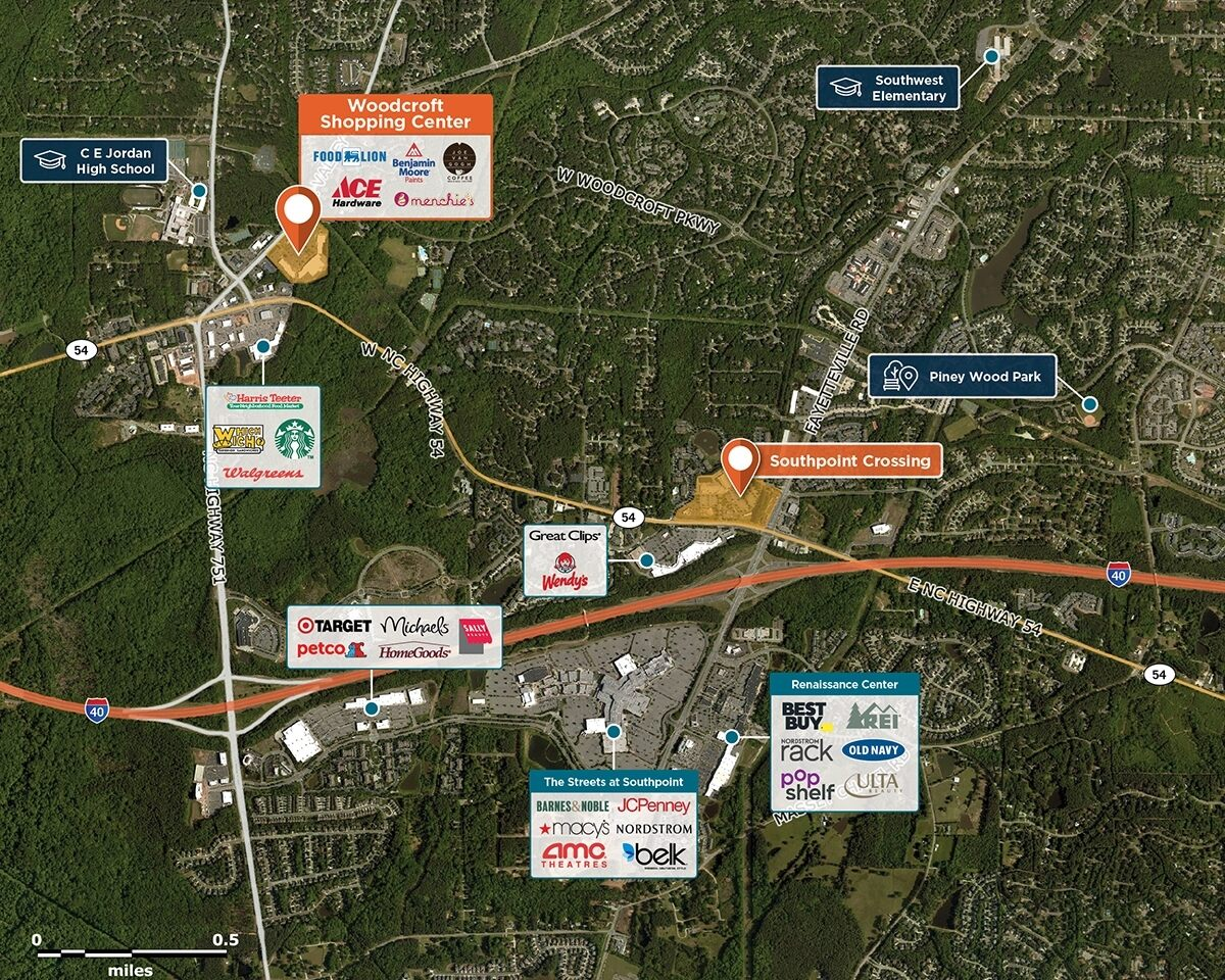 Woodcroft Shopping Center Trade Area Map for Durham, NC 27707