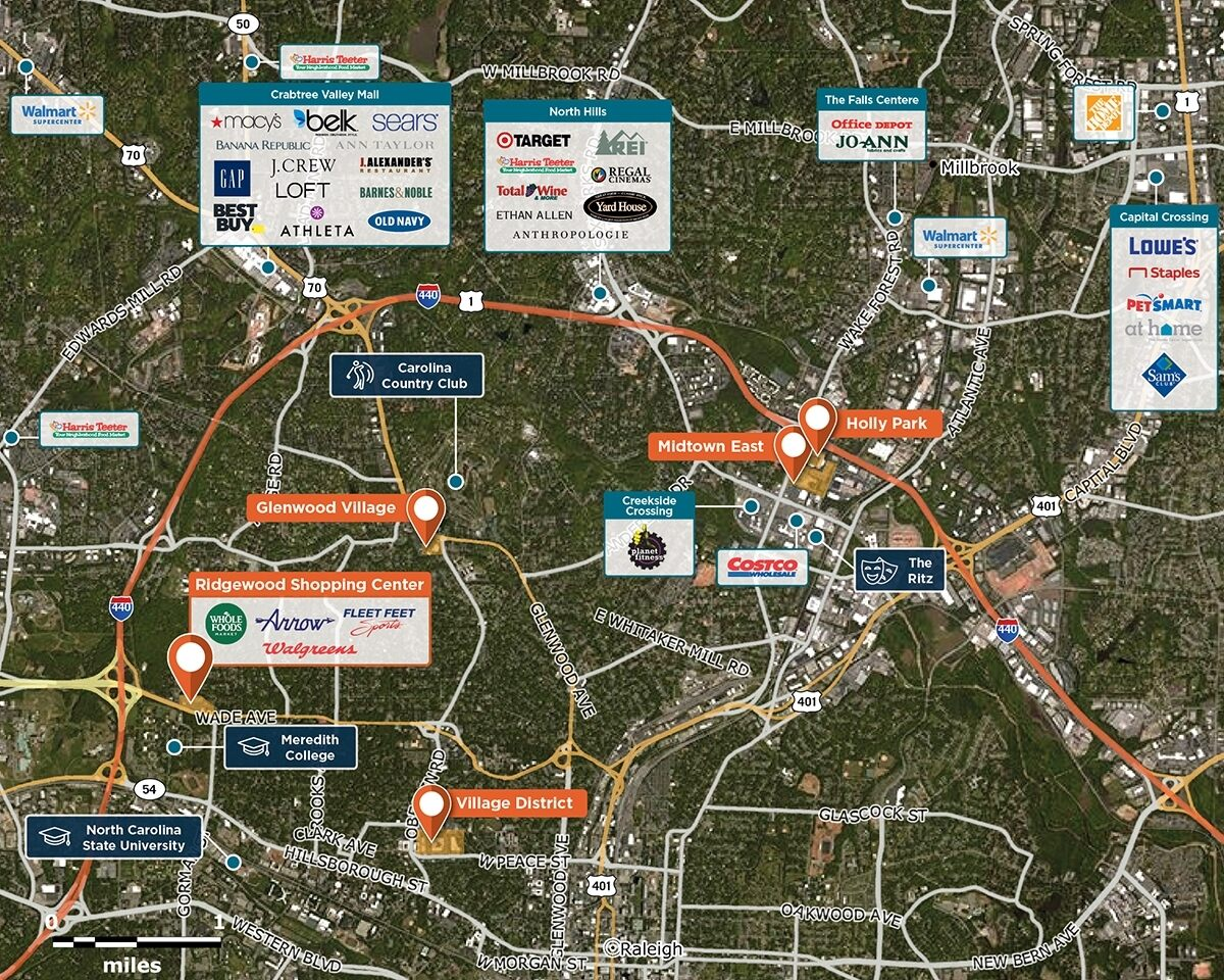 Ridgewood Shopping Center Trade Area Map for Raleigh, NC 27607