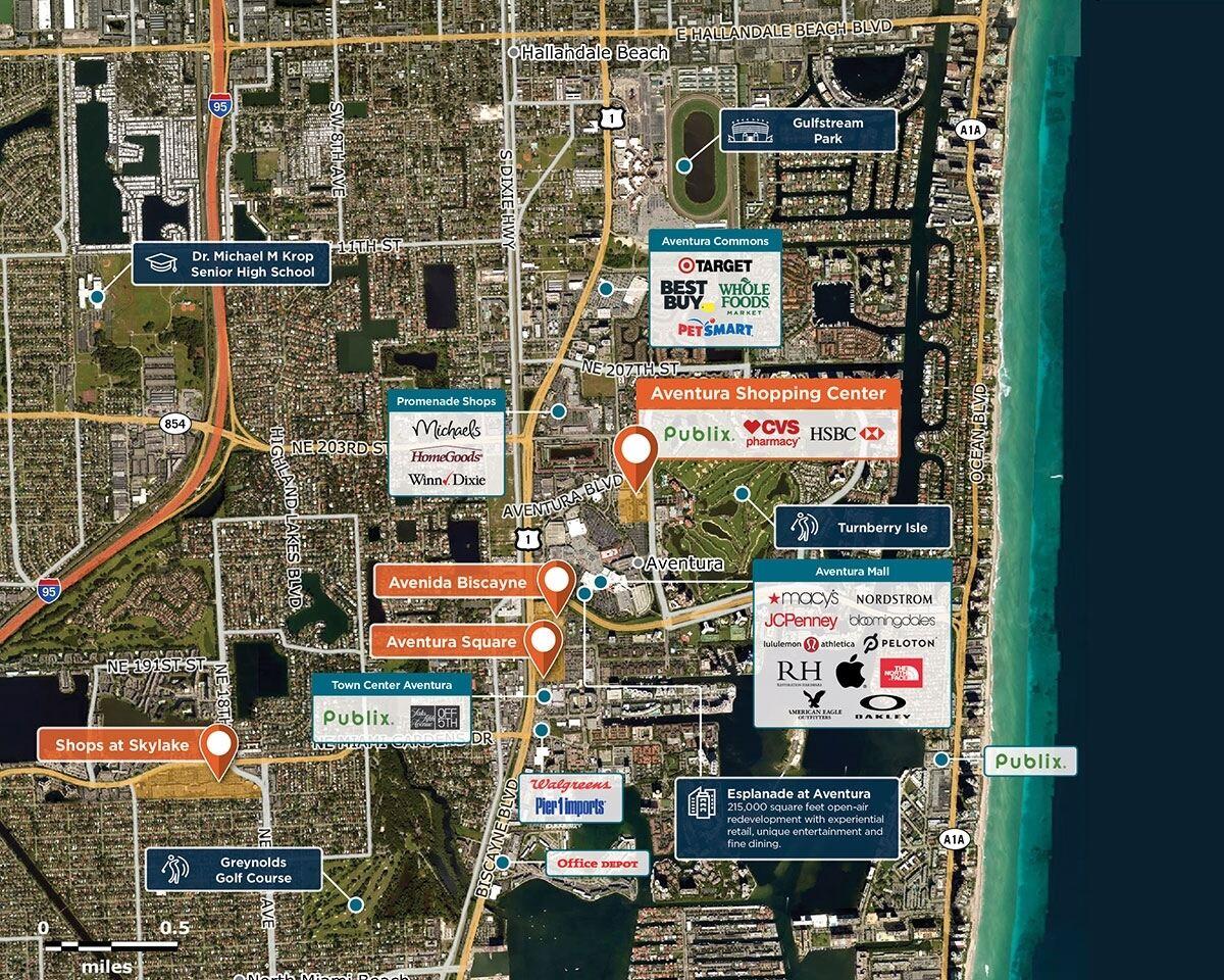 Aventura Shopping Center Trade Area Map for Aventura, FL 33180