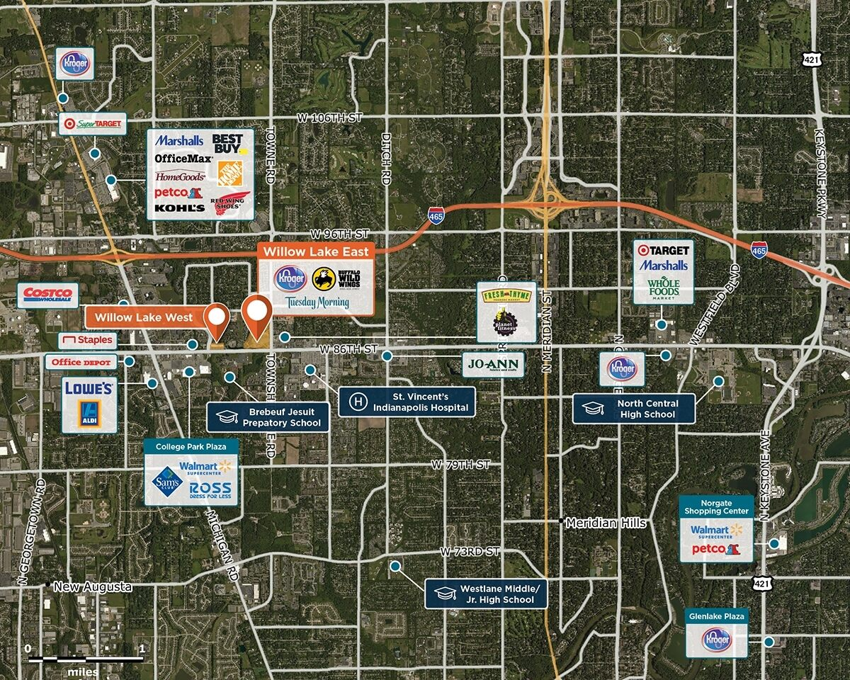 Willow Lake East Trade Area Map for Indianapolis, IN 46268