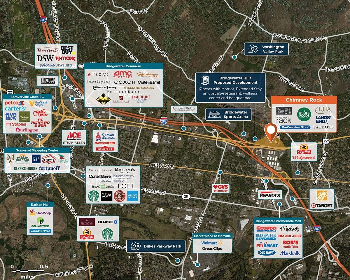 Chimney Rock Trade Area Map for Bridgewater, NJ  08807