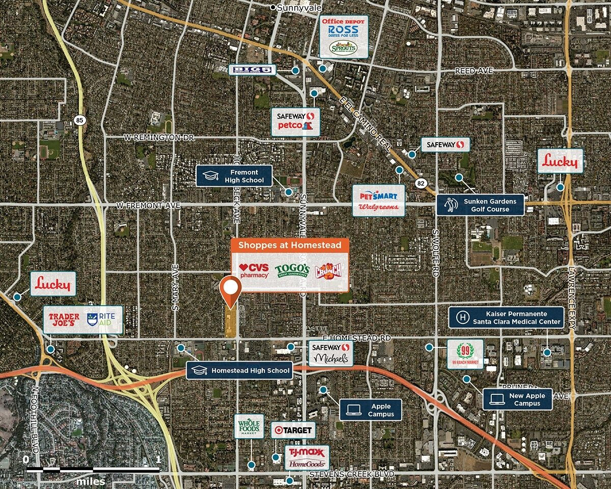 Shoppes at Homestead Trade Area Map for Sunnyvale, CA 94087