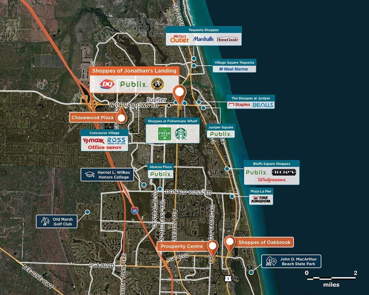 Shoppes of Jonathan's Landing Trade Area Map for Jupiter, FL 33477