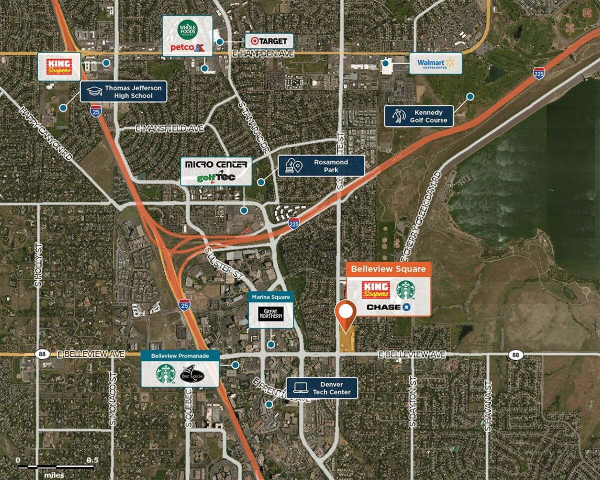 Belleview Square Trade Area Map for Greenwood Village, CO 80111