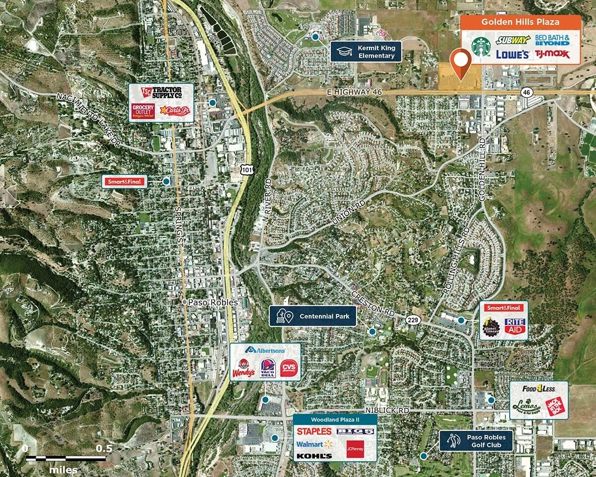 Golden Hills Plaza Trade Area Map for Paso Robles, CA 93446