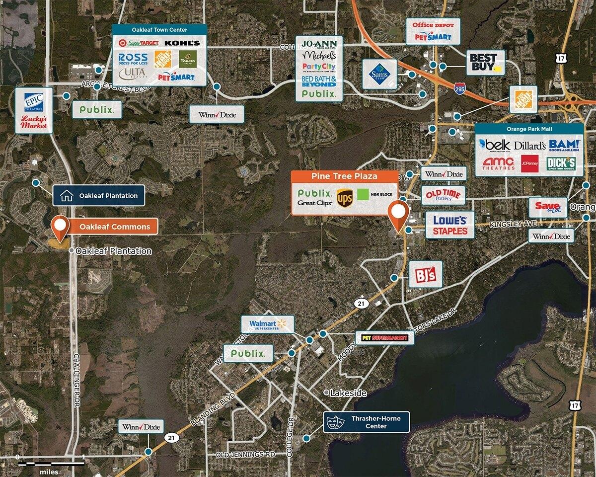 Pine Tree Plaza Trade Area Map for Orange Park, FL 32073