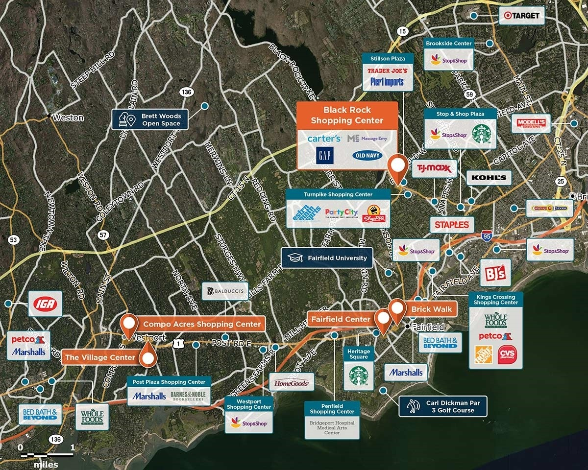 Black Rock Shopping Center Trade Area Map for Fairfield, CT 06825