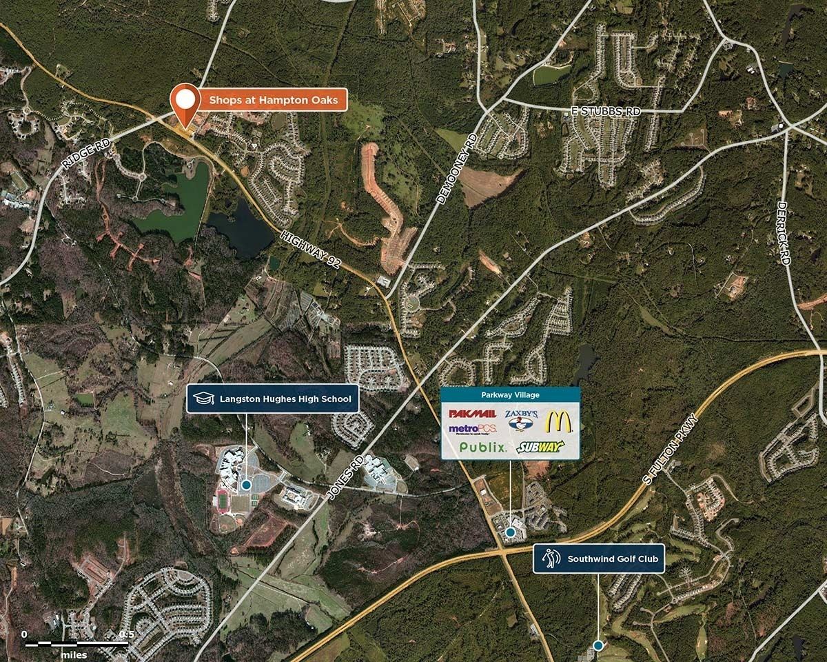 Shops at Hampton Oaks Trade Area Map for Fairburn, GA 30213