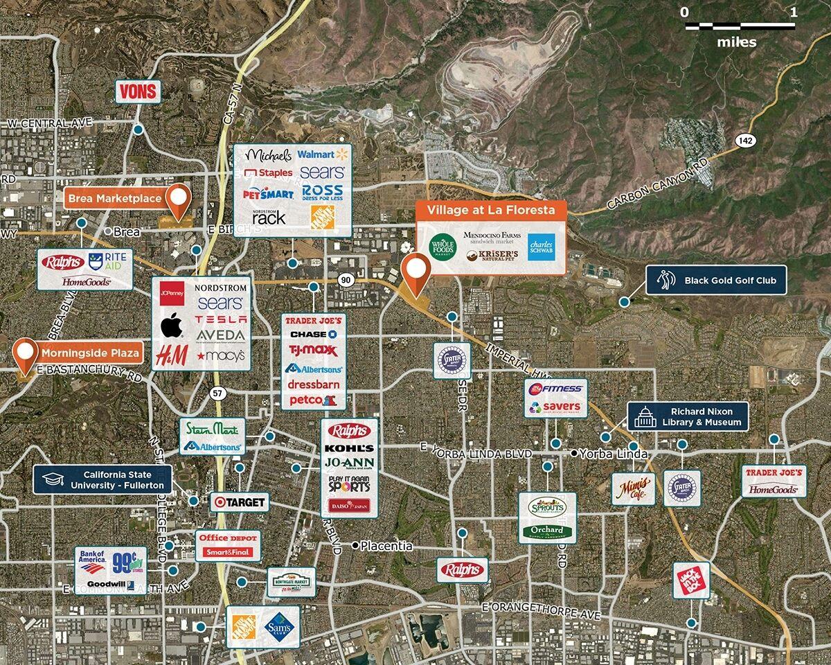 Village at La Floresta Trade Area Map for Brea, CA 92823
