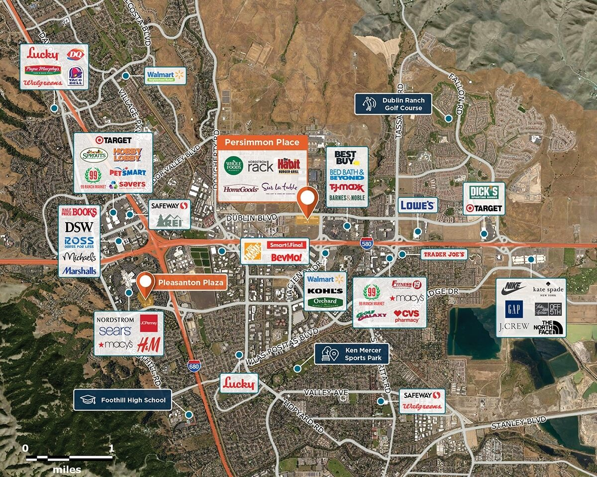 Persimmon Place Trade Area Map for Dublin, CA 94568