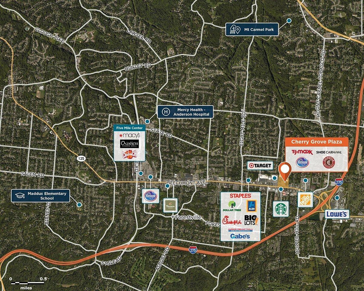 Cherry Grove Trade Area Map for Cincinnati, OH 45255